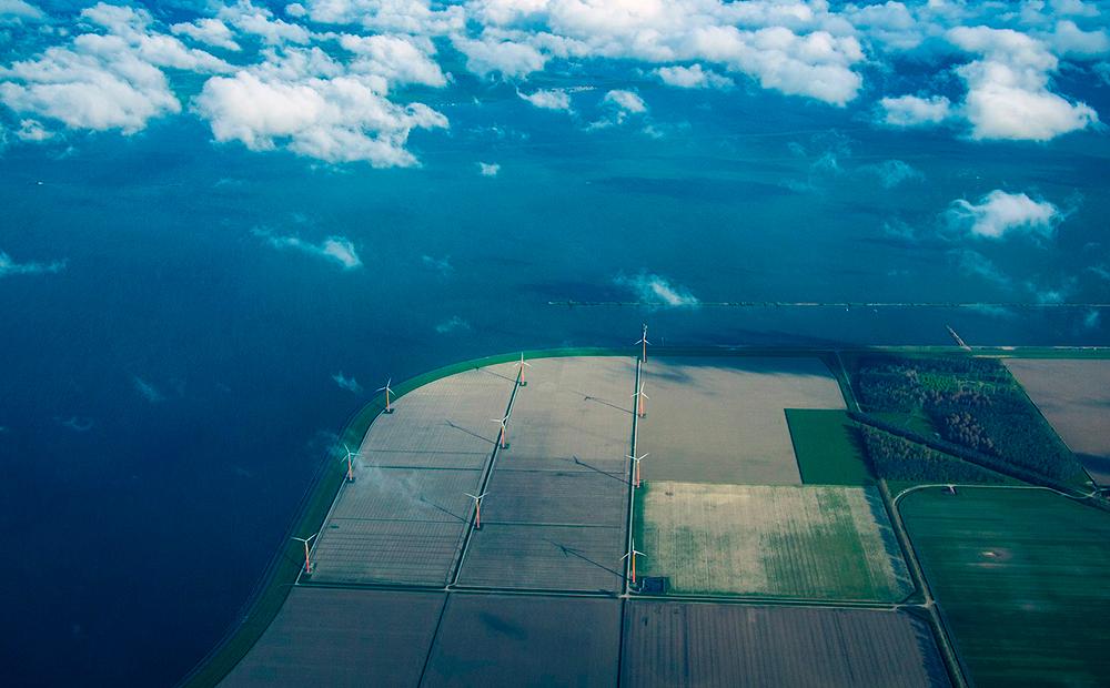Energía eólica vista aérea